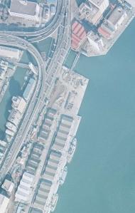 1972年1月の日の出桟橋付近(提供 国土地理院)